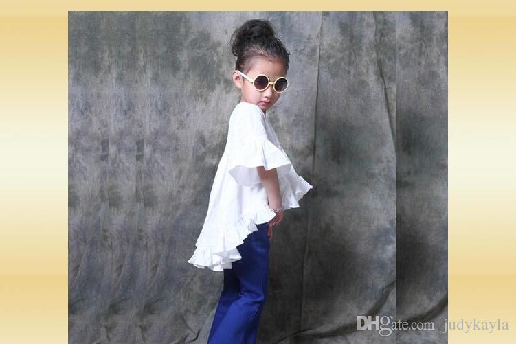 2016 Nieuwe Collectie Meisje Prinses Jurk Wit Kleur Mooie Leuke Meisjes Jurken Hoge Kwaliteit 100% Katoenen Kinderkleding Kids Tops 80-130cm