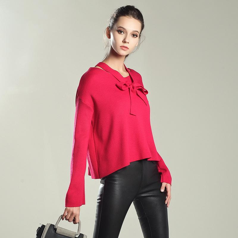 Autumn Women Sweaters Pullovers Slim Jumper Knitwear Bow Collar ... 0f6caa6e3