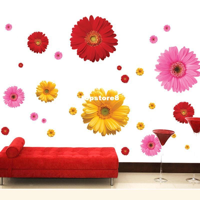 Colorful Flower Floral Wall Stickers Living Room Bedroom Wall Decals Home  Decor Sticker Kitchen Mural Wedding Decoration Poster