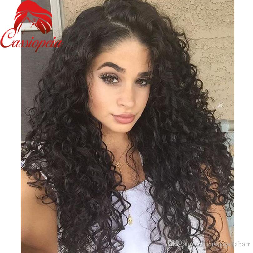 Loose Curly Human Virgin Hair Full Lace Wigs 130% Heavy Density Lace Front Wigs curly Peruvian Glueless Lace Curly Wigs