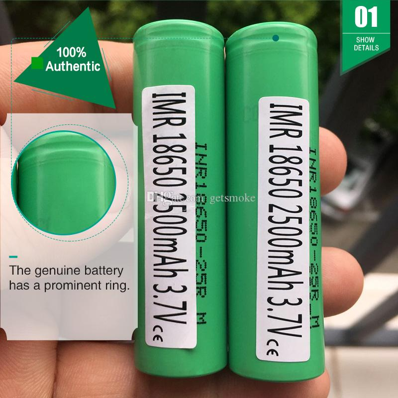 100% Original 25R 18650 Battery 2500MAH 35A Rechargeable Lithuim Batteries  PK Samsung Cell 18650 Battery For ecig mod Authentic Genuine