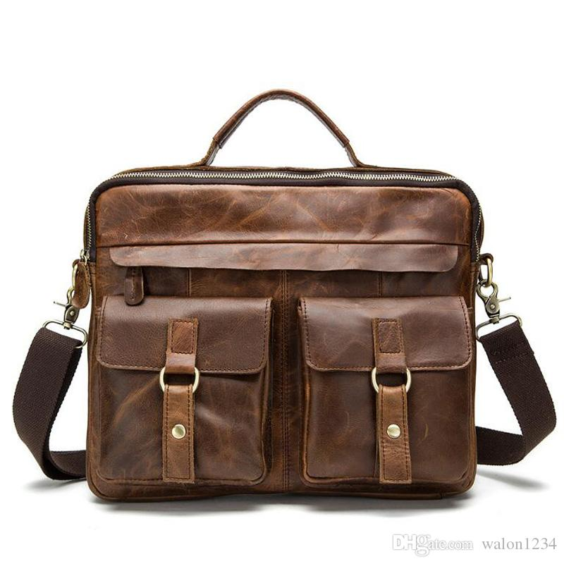 d7a3bbbb0 Fashion Genuine Leather Men Bag Male Casual Tote Shoulder Crossbody Bags  Messenger Mens Business Leather Bag Laptop Briefcases Mens Satchel Bags  Leather ...