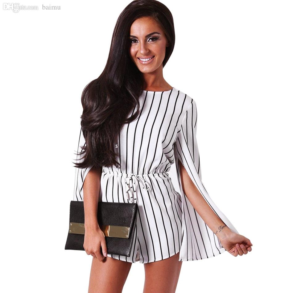 2d28d20f884f 2019 Wholesale Fashion 2016 Casual Black White Stripe Rompers Womens Short  Jumpsuit Sexy Long Sleeve Chiffon Cape Romper One Piece Bodysuits From Baimu