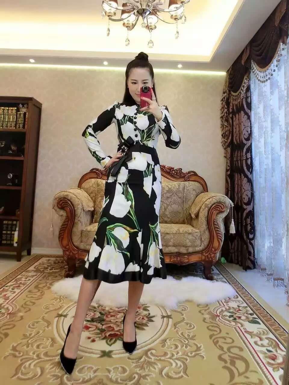 women latest world fashion grace noble dresses skirt long sleeve crystal diamond button printed flowervery good cloth