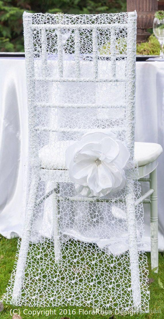 2016 White Lace Wedding Chair Sashes Vintage Romantic 3D Flower Chair Covers Floral Wedding Supplies Luxurious Wedding Accessories