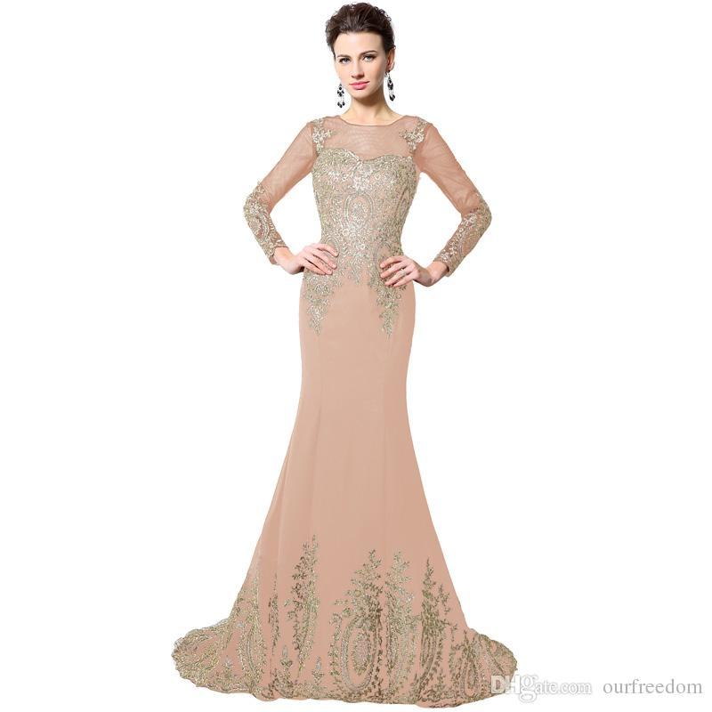 Black Gold Lace Long Mermaid Evening Dresses 2019 Långärmad Robe de Soiree Ribbon Lace Up Prom Party Dresses Real Photo Xu040