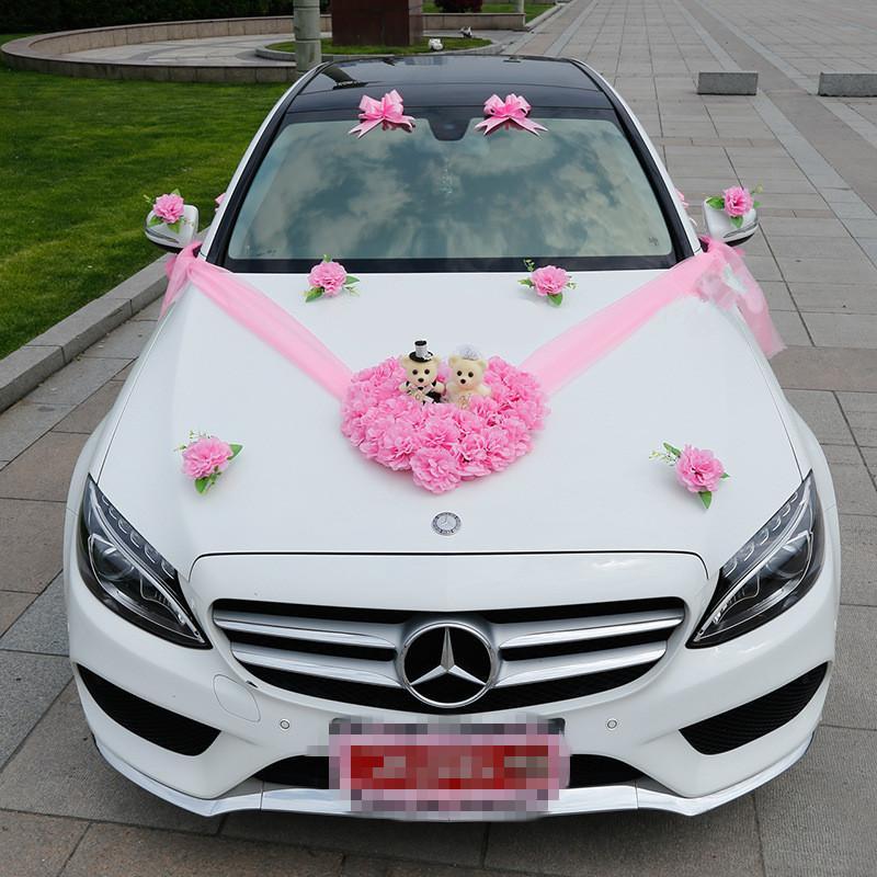2018 wedding car flower decorations set artificial flowers silk heart bear wedding decorative - Wedding decorations for car ...