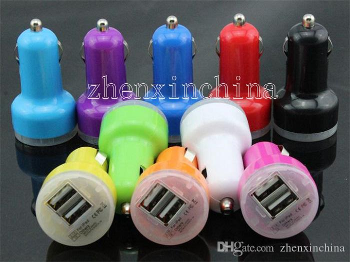 Hot sale Dual usb port car charger 2.1A+1A car charger + retail package for iphone 3 4 5 6 for samsung htc xiaomi