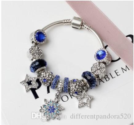 8afab6323 Fashion Pandora Style Charm Bracelets Fashion Murano Glass Blue Crystal  European Charm Beads Fits Bracelets Snowflake Bangles DIY Jewelry Charms  Bracelet ...