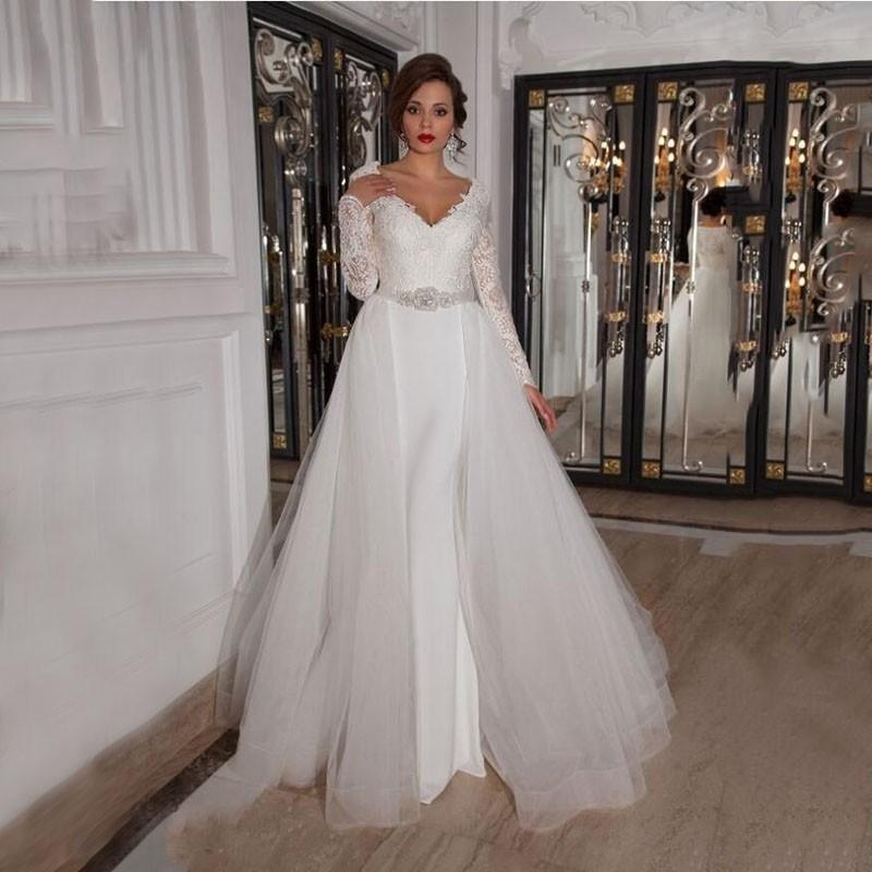 Wedding Dresses With Detachable Overskirt Lace Bust Full Sleeve ...