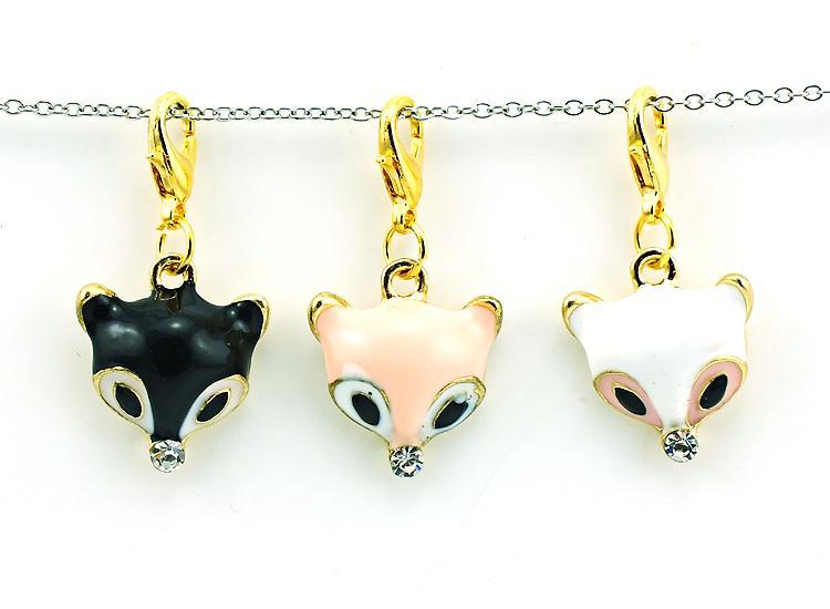 Fashion Floating Charms Vergoldet 3 Farbe Emaille Fuchs Kopf Karabinerverschluss Legierung Charms DIY Anhänger Schmuck Zubehör