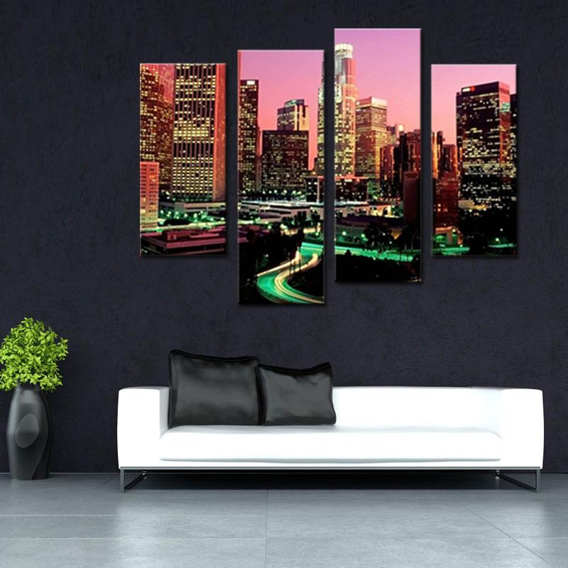 Wholesale Wall Art Painting Los Angeles With Nice Night Scene Prints ...