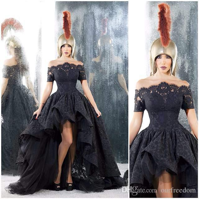 2019 Vintage Dubai Arabisch Hallo Low Abendkleider aus der Schulter Boot-Ausschnitt schwarzer Spitze formale Prom Kleider für besondere Anlässe Kleid nach Maß