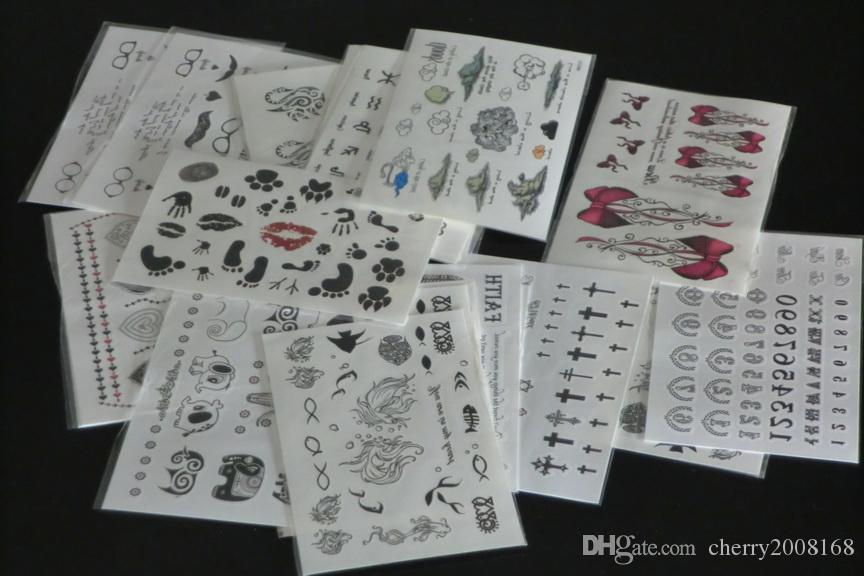 100 Stücke Großhandel 9,5 * 14,5 cm Temporäre tattoo aufkleber-für Body art Malerei-gemischte designs Temporäre Tattoos