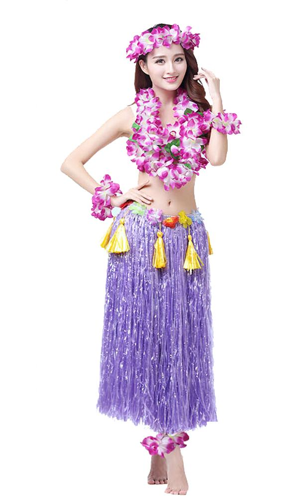 2018 Hawaiian Hula Dance Costume Ballet Show Cosplay Dress Skirt Garland For Adult 80cm Full Sets From Fancomic 1307