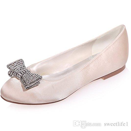 Women's Satin Wedding Bridal Shoes Round Toe Evening Prom Party Flats with Bows ZXF9872-25