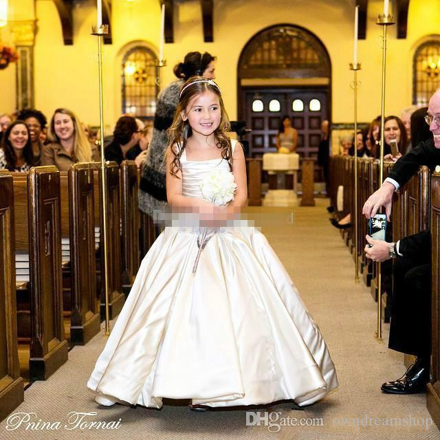 PNINA TORNAI White Ball Gown Flower Girl Dresses for Vintage Weddings Spaghetti Crystal Ruffles Satin 2016 Custom Made Child Communion Gowns