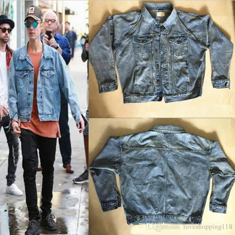 Best Quality Kanye West Fear Of God Jackets For Men Light Blue Denim