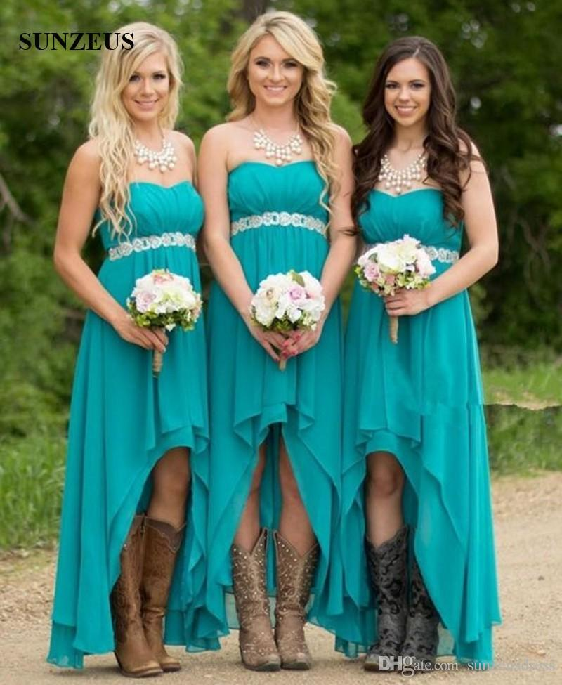 dcc4fcd59d7 High Low Turquoise Bridesmaid Dresses Short Front Long Back Chiffon Party  Dress Beaded Empire Waist Vestido Turquesa Dark Red Bridesmaid Dresses  Junior ...