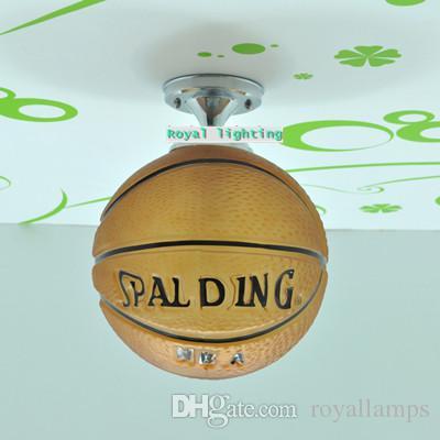 E27 بقيادة مصابيح الزجاج العصرية أضواء السقف كرة السلة بسيط الزجاج كرة القدم شنقا ضوء الأطفال غرفة نوم مصباح كيد غرفة ضوء