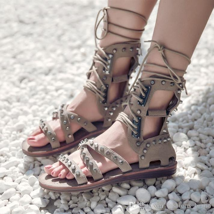 4b2fca816 Mixed Color Rhinestone Gladiator Sandals Women Summer New Flats Dress Shoes  Woman Big Size Fringe Short Boots Rivets Sandals Canada 2019 From  Fashions brand ...