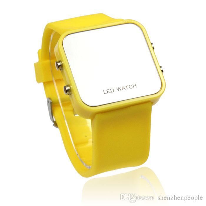 Heißer Verkaufs-Frauen-Damen-Spiegel-Verfassungs-Uhrplastikgummigelonesilon digitaler Datumskalender Unisexart und weisesport passt / auf