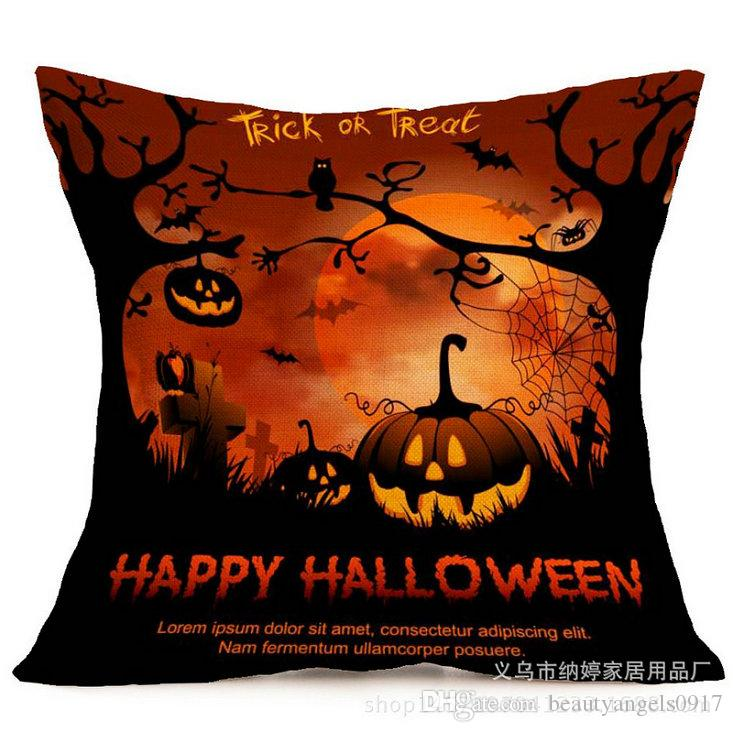 43*43 Cm Halloween Day Pattern Throw Pillow Case Cover For Home/Car/Bar/Party Decoration Body Pillow Covers Pillow Cases Uk Pillow Cover Patterns From ...