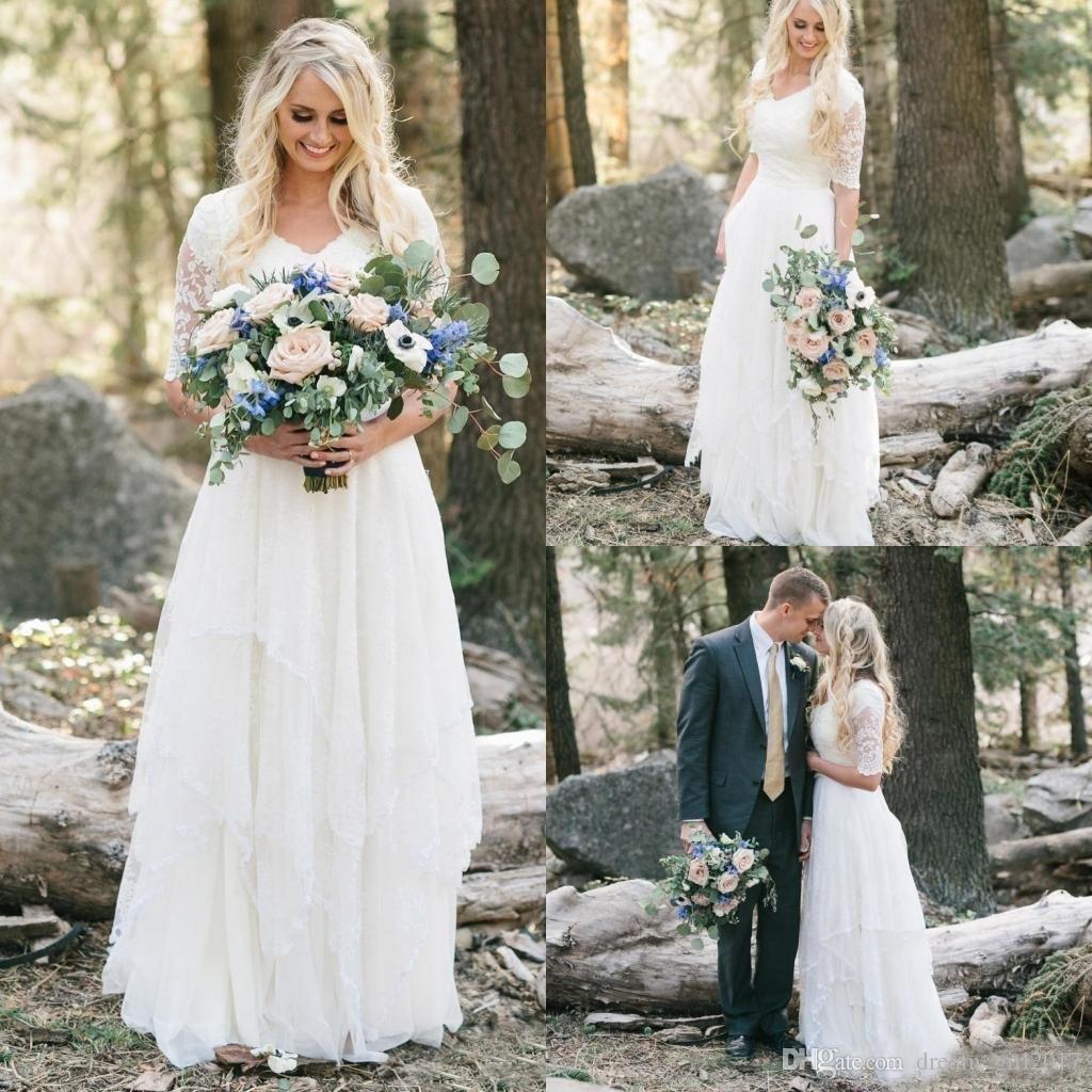 f2d7c90612920 ... Country Bohemian Floresta Vestidos De Noiva Rendas Chiffon Modest V  Pescoço Meia Mangas Longos Vestidos de Noiva Plus Size Vestido para o  Casamento