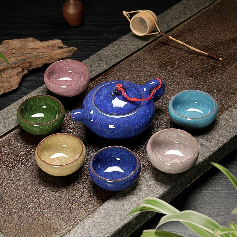 Promotion! Kung Fu Tea Cup Set Crackle Glaze Travel Chinese Porcelain Teacup Sets Ceramic Yixing Purple Clay Tea Service