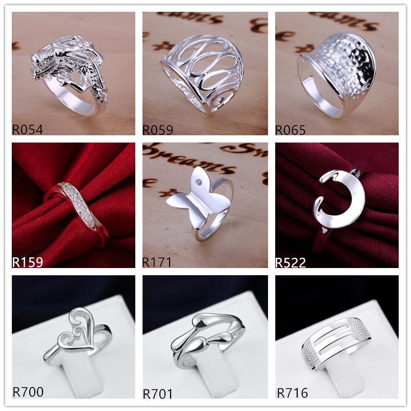 anillo plateado de plata esterlina 10 piezas mucho estilo mixto EMR6, nuevo modelo de explosión placa anillo de plata 925