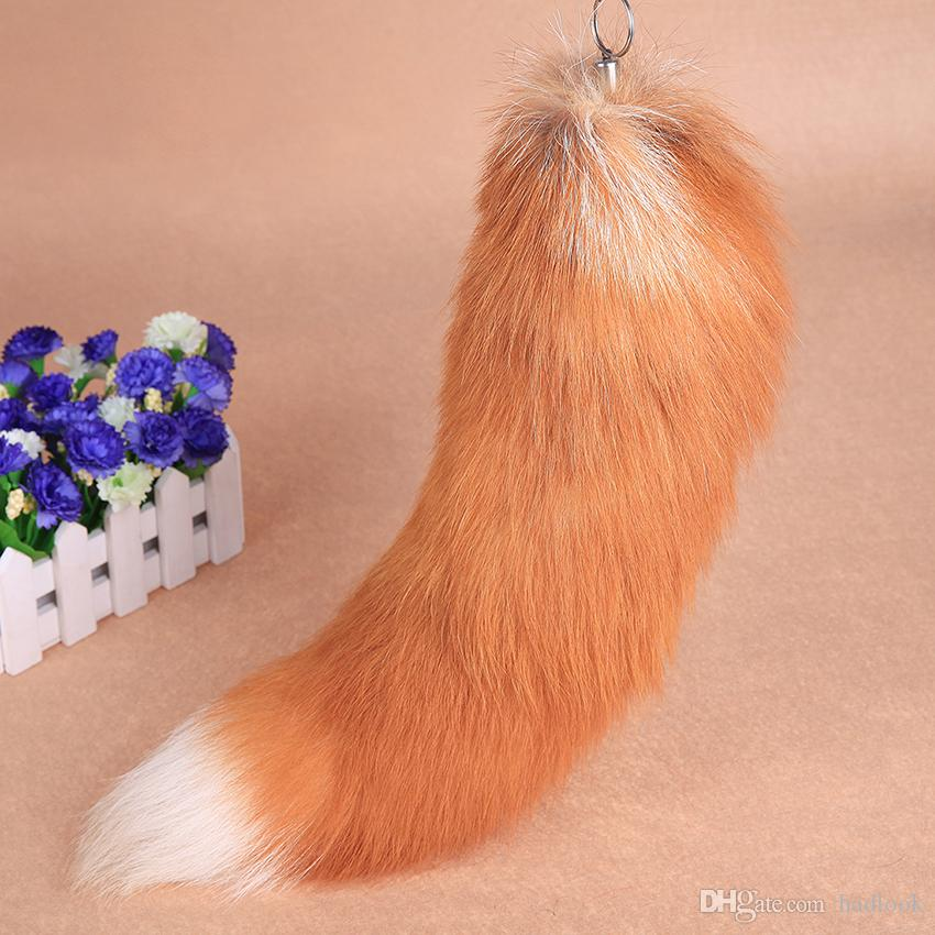 Fox Tail Fur Cosplay Toy Handbag bookbag Accessories Key Chain Ring Hook fur Keyring Tail Lucky Charm Fur Cute Soft Fluff Handbag Charms car