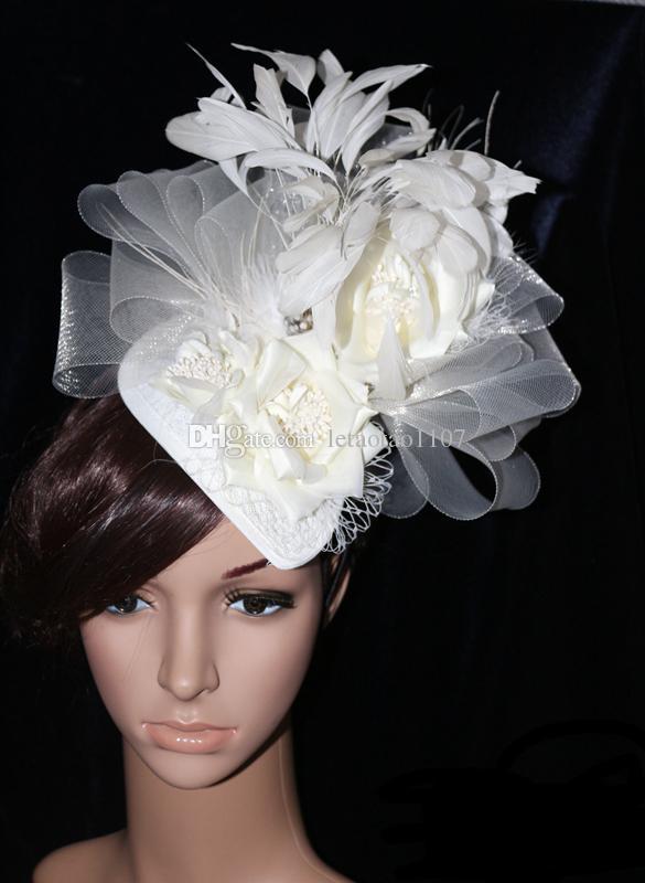 Artificial Flower Feather Gauze Handmade Hats With Hair Hoop Outdoor  Wedding Hats Flower Gauze Daily Hats Bridal Headgear Girls Ladies Gifts  Pill Box Hat ... 6b4b757e0d8
