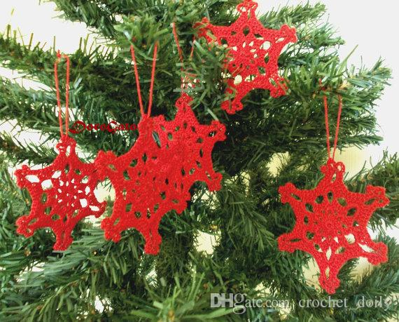 Lace Crochet snowflakes, Christmas ornament, christening favors, gift wrapping, crochet tags, Christening decor, wedding day Set of 12