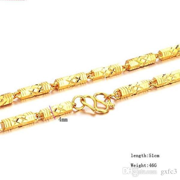zwaar zwaar! Echte gele effen gouden mannen ketting 4mm stoep ketting 550mm sieraden munt-markering belettering 100% echt goud