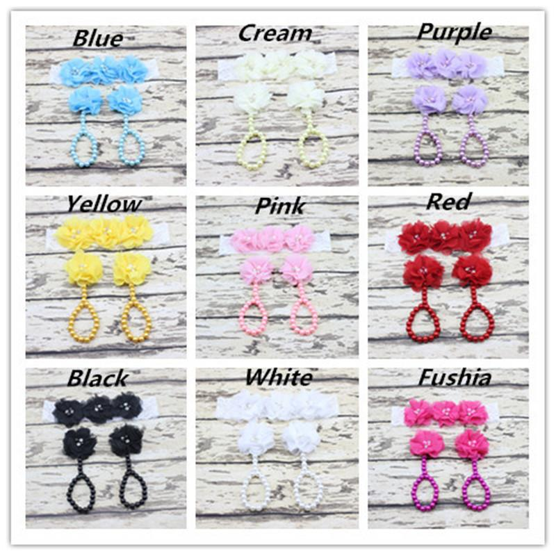 New Chiffon Flower Baby Feet Ring + Lace Headband Set Infant Toddler Photography Props Baby Barefoot Sandals Hairband Footwear B530