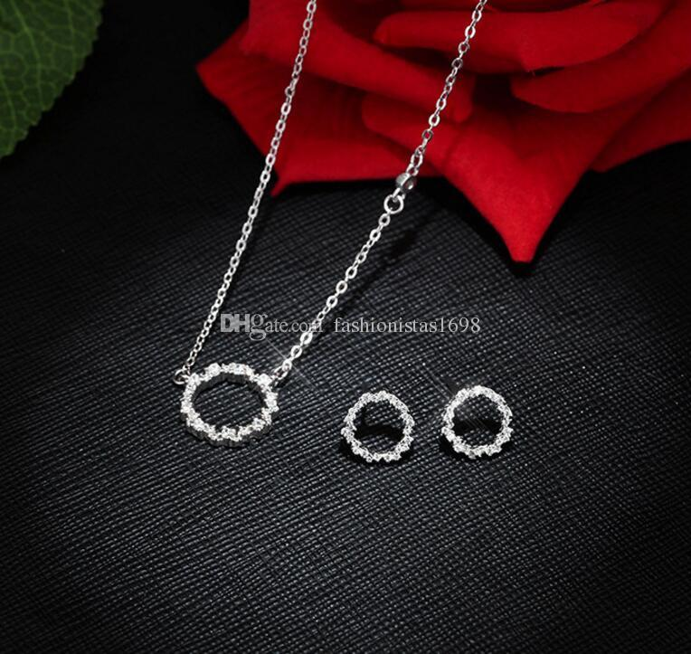 New hot Silver necklace Crystal White Rhinestones circle pendant chain necklace women fashion short neck chain
