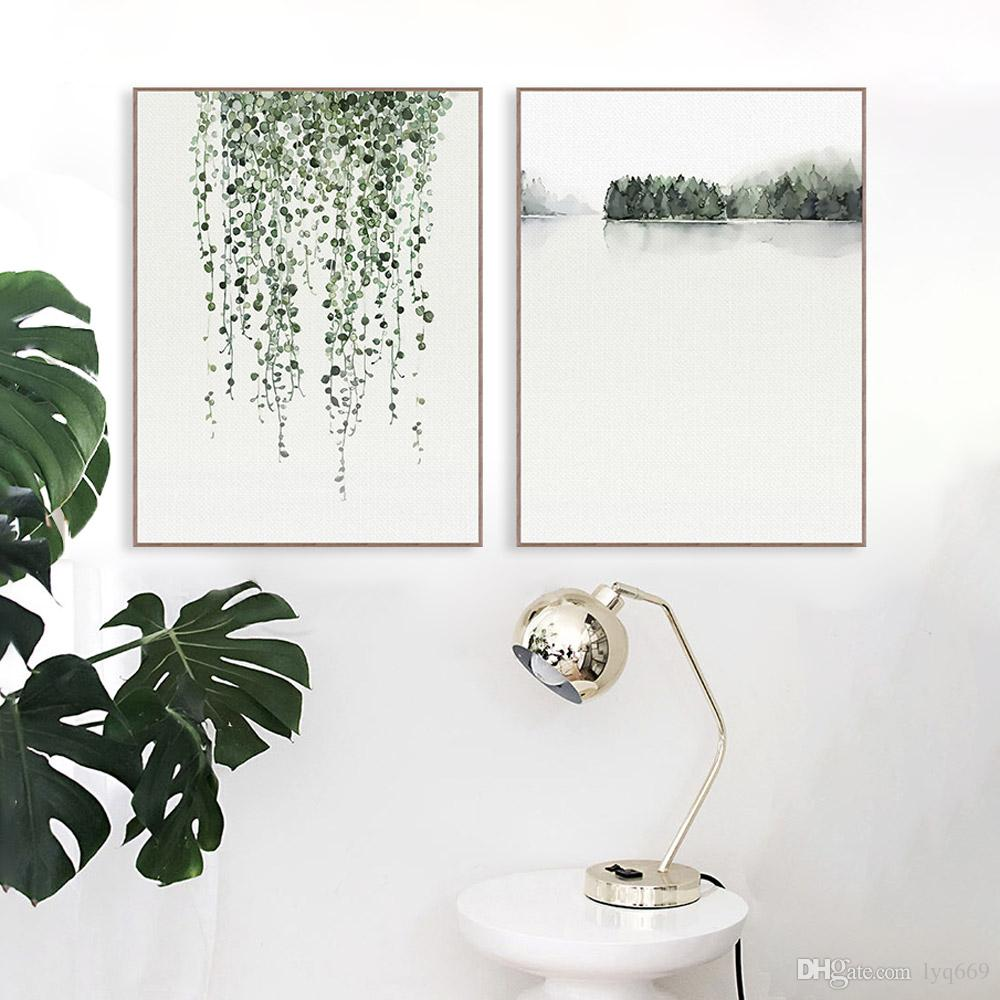 Nordic Minimalist Watercolor Green Plant Leaf Posters A4 Living Room Wall Art Canvas Painting Home Decor Print Pictures No Frame