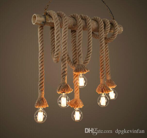 Retro double heads rope pendant lights loft vintage lamp restaurant retro double heads rope pendant lights loft vintage lamp restaurant bedroom diningroom pendant lamp hand knitted hemp rope light red pendant lighting low aloadofball