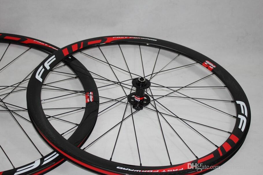 디스크 브레이크 FFWD 38mm Clincher Carbon Wheelset 광택 도로 바퀴 700C 전체 탄소 자전거 바퀴 레드