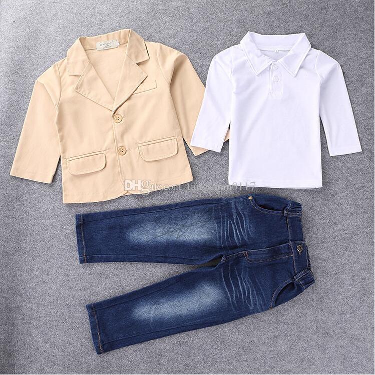 Moda de otoño 3 piezas de ropa conjunto chaqueta de manga larga + camisas + pantalones de mezclilla ropa niño niño flor