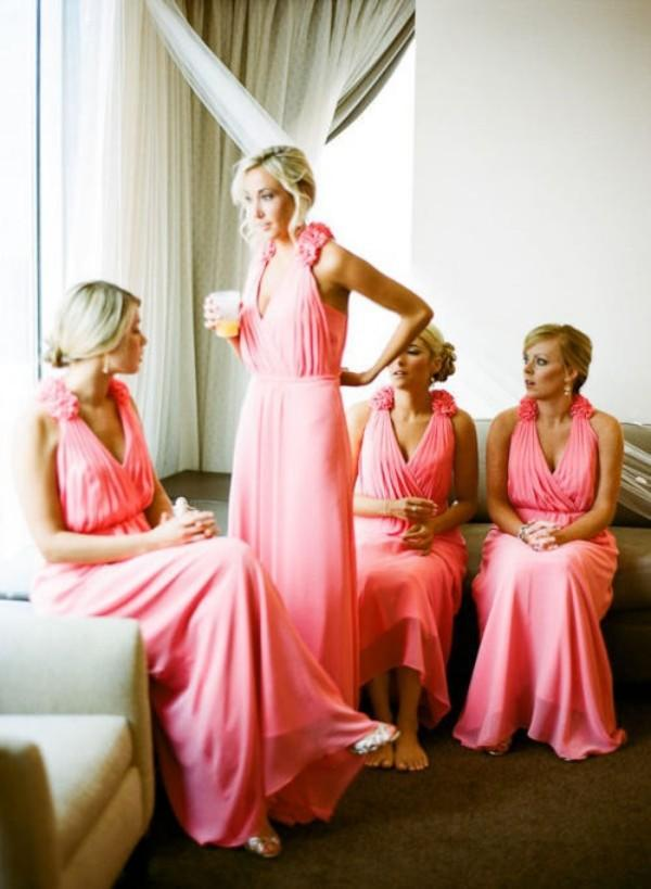 Sexy Beach Wedding Bridesmaid Dress Pink Chiffon Long Formal Maid of Honor Gowns Deep V Neck Handmade Flowers Custom Made High Quality