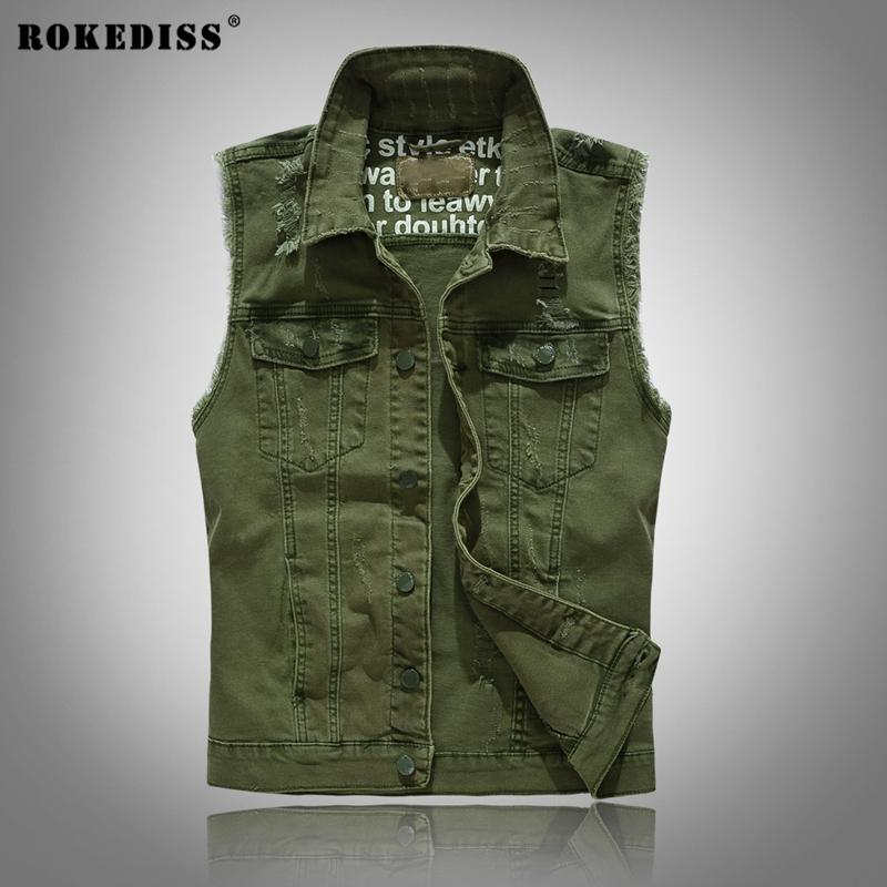 2017 Rokediss 2017 Jean Jacket Mens Army Green Denim Vest Jeans ...