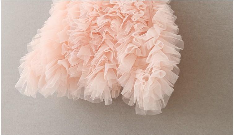 2016 D'été Enfants Filles Stéréo Perle Fleurs En Dentelle Pompon Robes Filles Rose Porte-Jarretelles Parti Princesse Robes Vêtements B4185