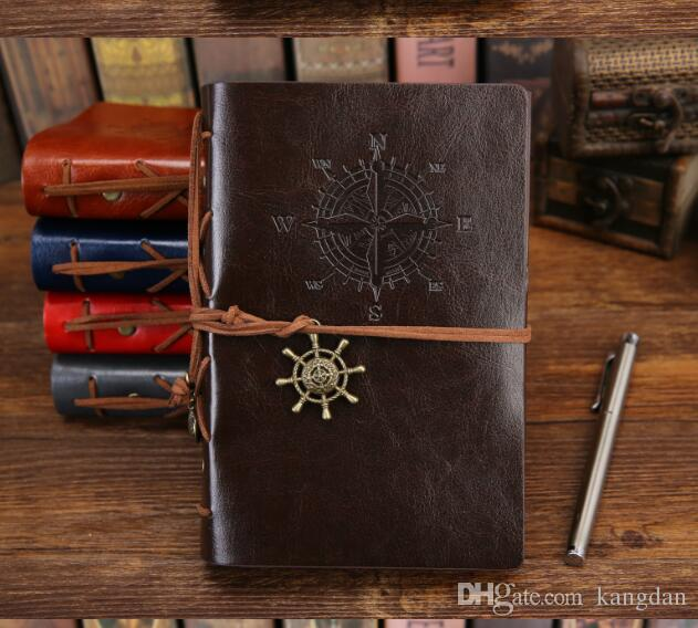 business Spiral Notebook Diary Notepad Vintage Pirate Anchors PU Leather NoteBook Stationery Gift school notebook Traveler Journal