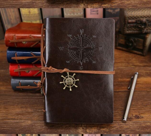Vintage Korsanlar defterler Deri Not Defteri 75 Sayfalar Kraft Kağıt Not Defteri İş seyahati Dergisi Günlüğü Kitaplar klasik boş Gevşek yaprak defter