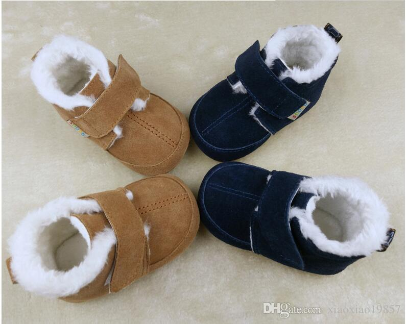 winter warm with fur boots Genuine Leather Baby Moccasins hard soled Shoes Baby Shoes Newborn Infant Shoes baby boots