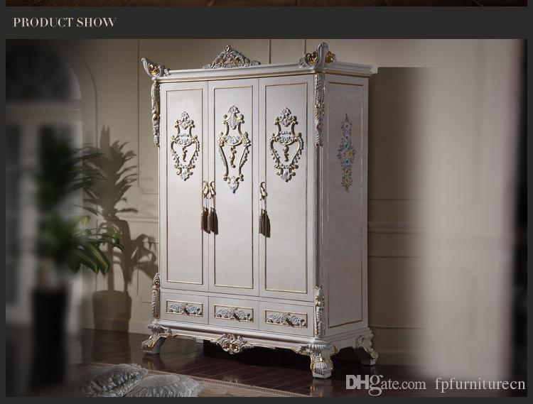 Antique classic furniture baroque wardrobe -Italian bedroom furniture - luxury hand carved 3-doors wardrboe