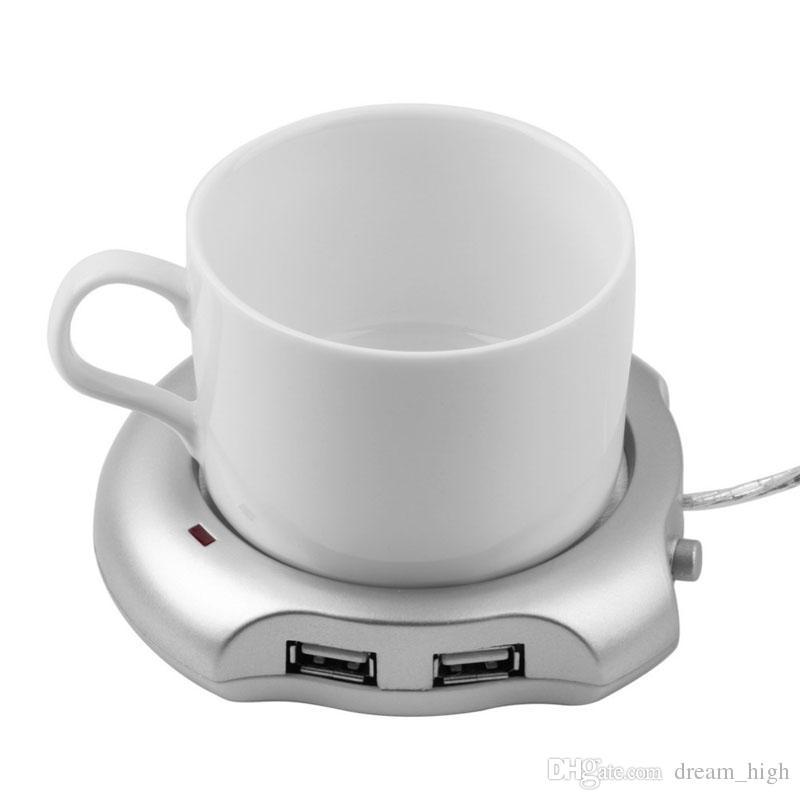 Creative Silver 4 Port USB HUB Office Coffee Tea Cup Warmer Heater Pad Mat 2.5W 5V Happy Gifts High Quality