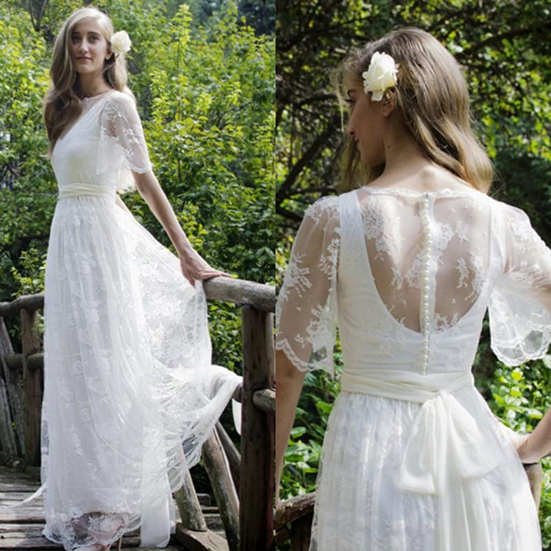 China Long Sleeves Wedding Dress Custom Made Lace Princess: Discount Bohemian Wedding Dresses 2018 Elegant Full Lace