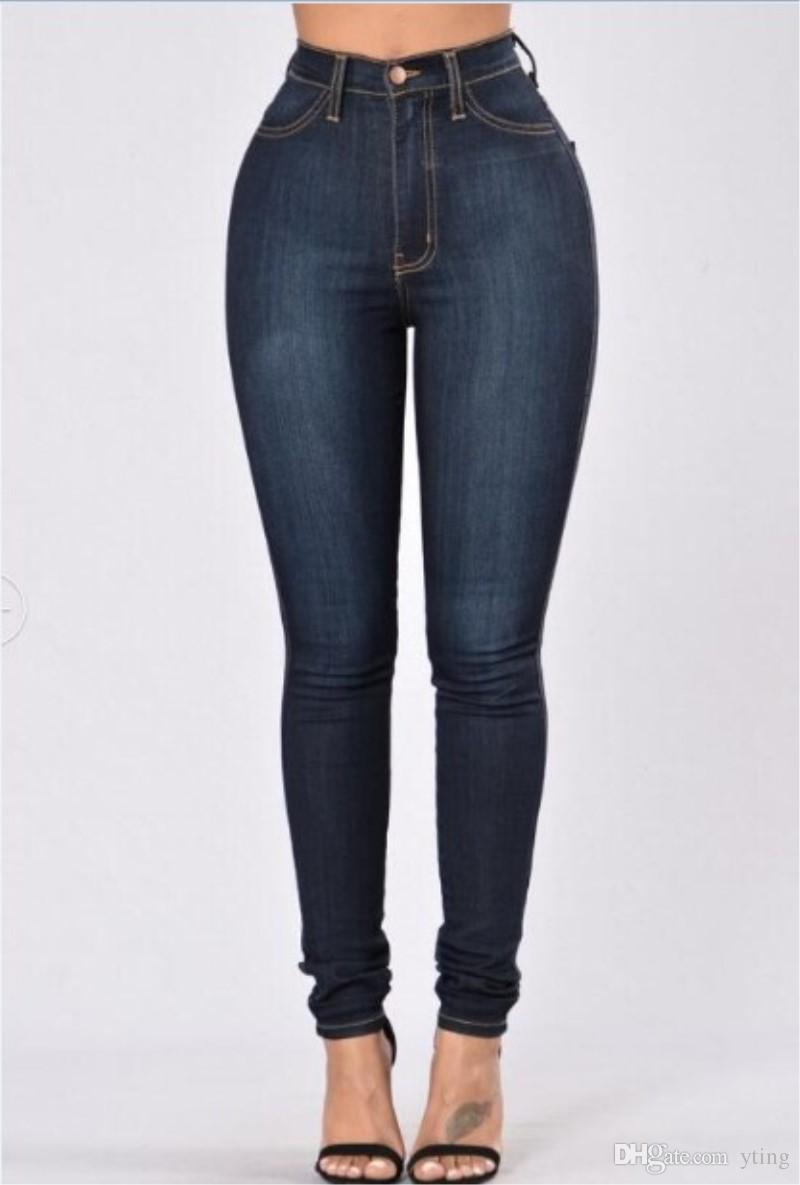 Europejski i amerykański styl kobiety talii wysokie dżinsy duże biodra rozciągliwe spodnie 2 kolory plus rozmiar
